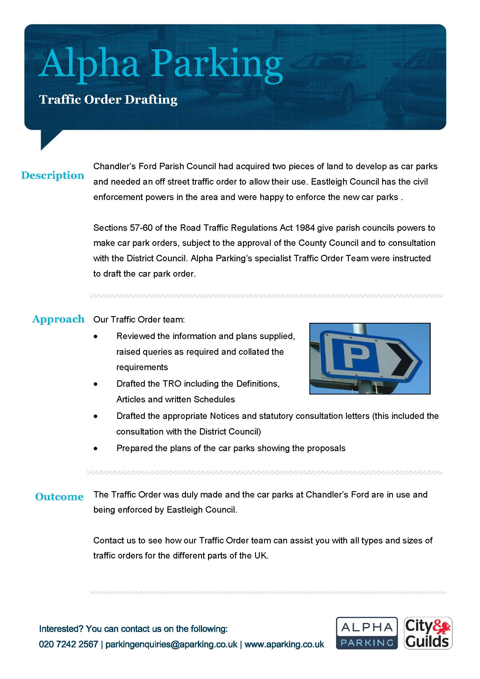 Traffic Order Drafting Case Study Chandlers Ford
